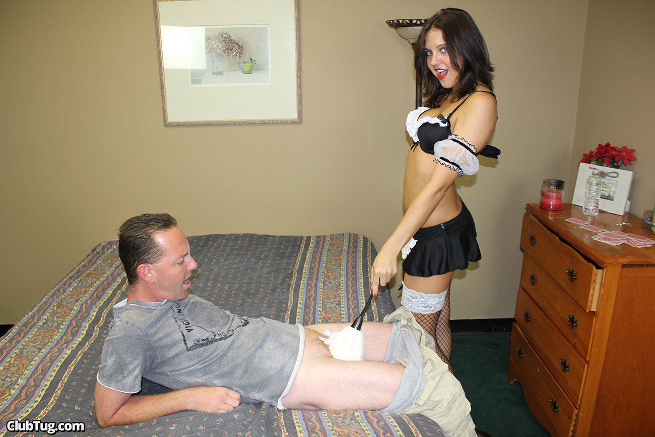 French maid gives handjob