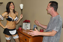 Hot French maid stroking her boss huge cock from Club Tug