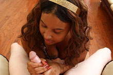 Chubby ebony slut gave sensual handjob from Ebony Tugs