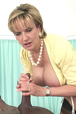 Busty milf Lady Sonia milking huge black cock from Lady Sonia