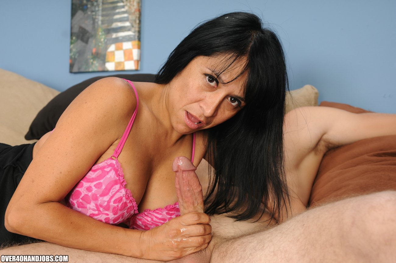 Latina Step Mom Makes Cock Spurt from Over 40 Handjobs