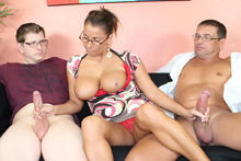 Busty milf Stacie Starr Stroking Cocks from Over 40 Handjobs