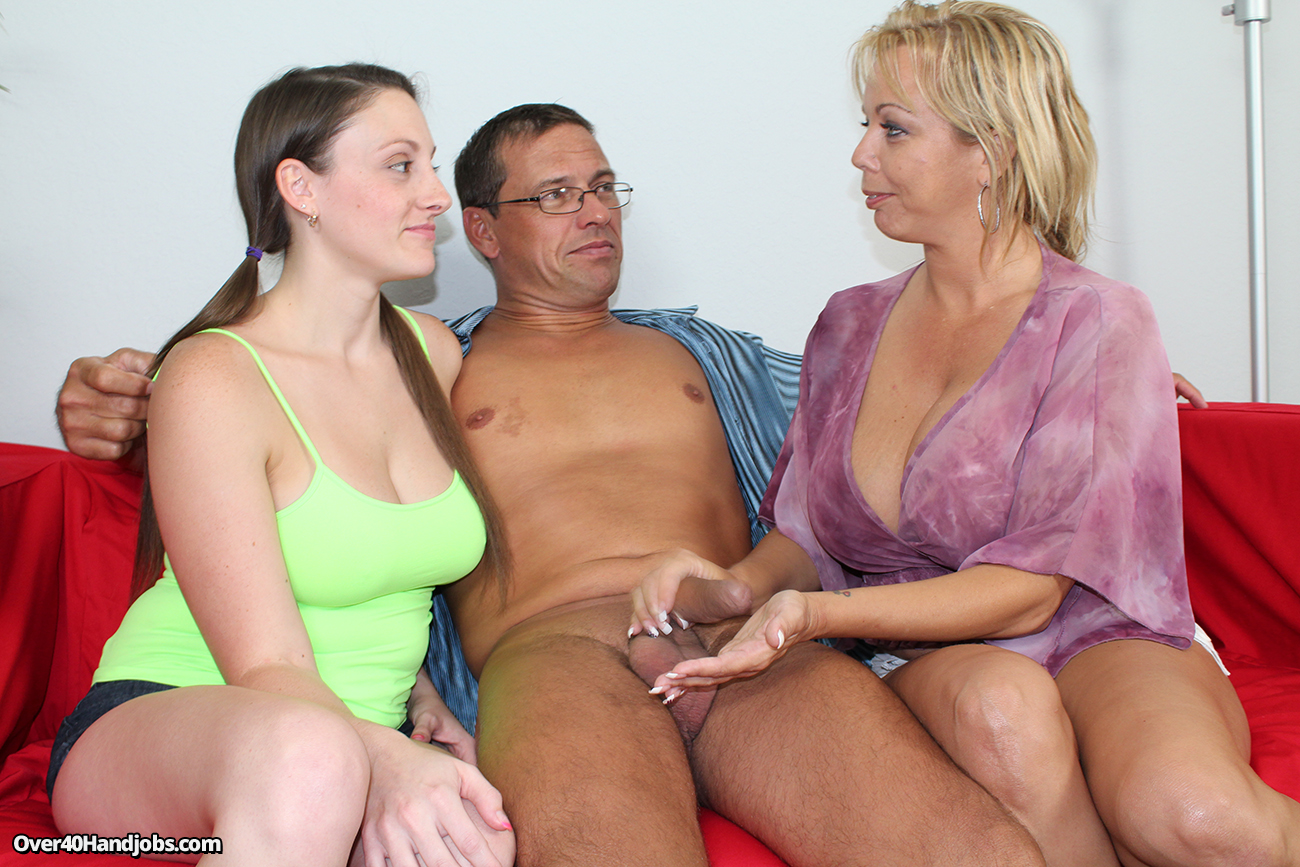Mom teaching daughter handjob