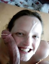 Naked girlfriend plays with a mouth full of cum and swallows all the jizz